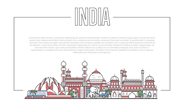 直線的なスタイルのインドのランドマークパノラマ