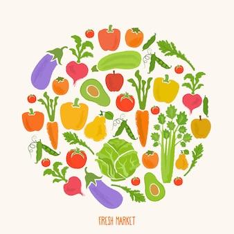 Здоровая пища фон из свежих овощей