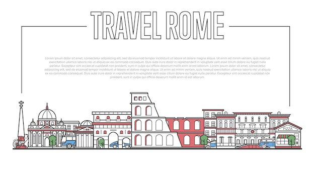 Рим ориентир панорама в линейном стиле