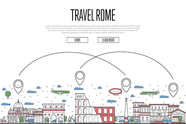 直線的なスタイルで旅行ローマのウェブサイト