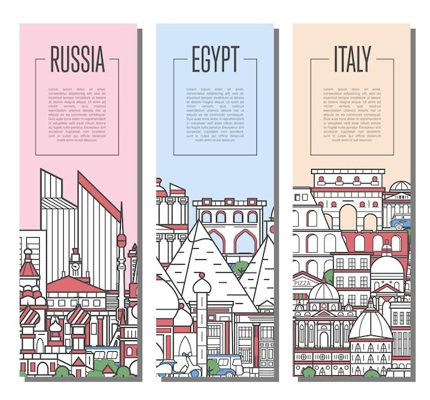 直線的なスタイルの世界旅行ツアーバナー