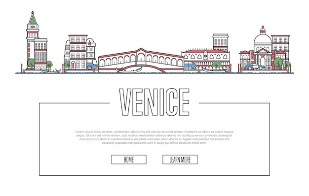 Туристический сайт венеции в линейном стиле