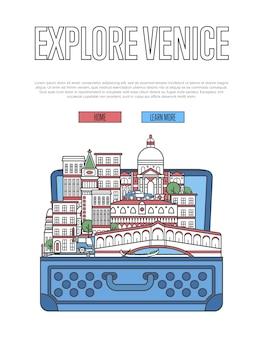 Исследуйте сайт венеции с открытым чемоданом