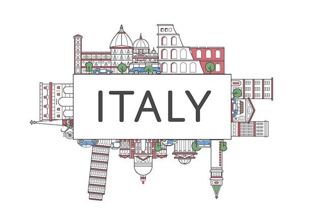 直線的なスタイルの旅行イタリアポスター