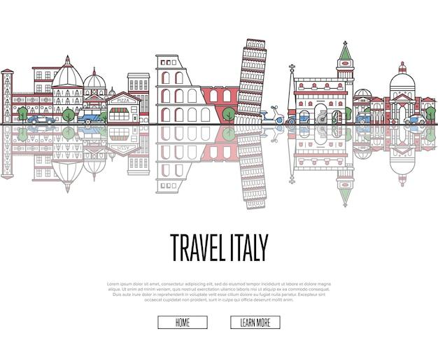 Туристический тур в италию постер в линейном стиле