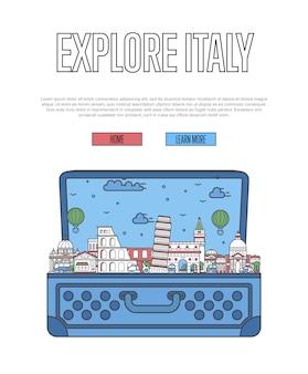 開いたスーツケースでイタリアのポスターを探索する