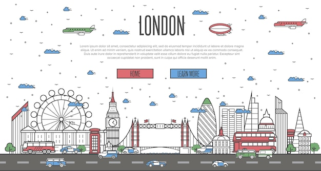 国立の有名なランドマークとロンドンのスカイライン