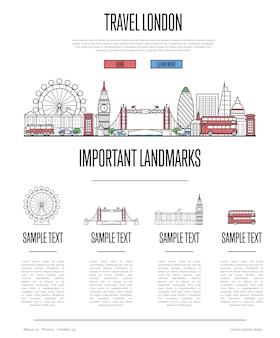 直線的なスタイルのロンドン旅行インフォグラフィック