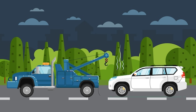 Эвакуатор эвакуирует сломанную машину