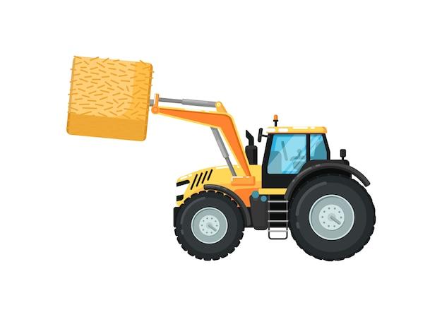 Сельскохозяйственный трактор сено погрузчик иллюстрация