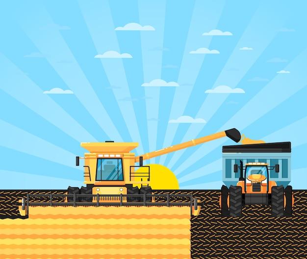 穀物畑の農業用コンバイン