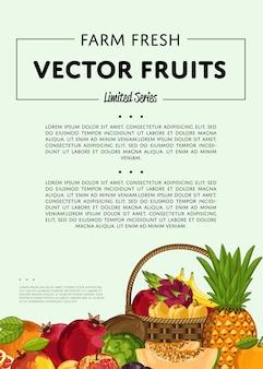 Баннер из свежих органических фруктов