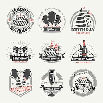 С днем рождения винтаж изолированных набор этикеток