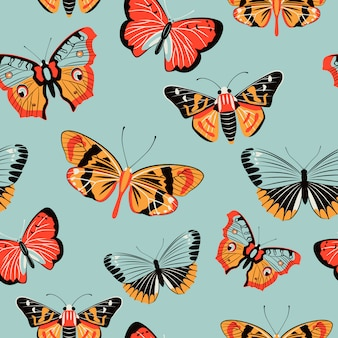 蝶のカラフルなシームレスパターン