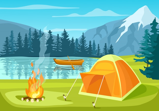 Летний туристический лагерь в лесу возле озера