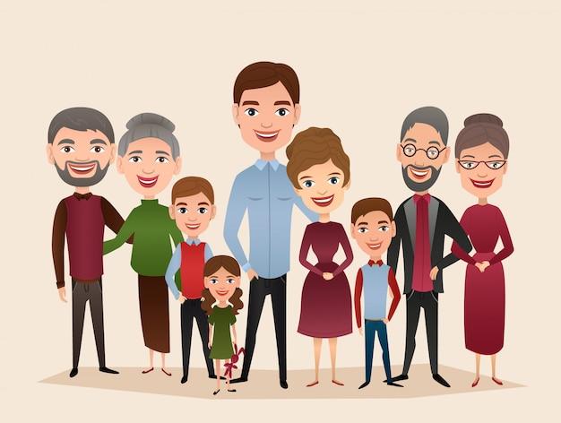 Большая счастливая семейная мультипликационная концепция
