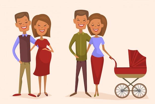 Счастливая молодая семейная пара набор