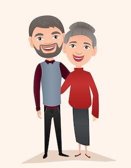 分離された幸せな中年夫婦