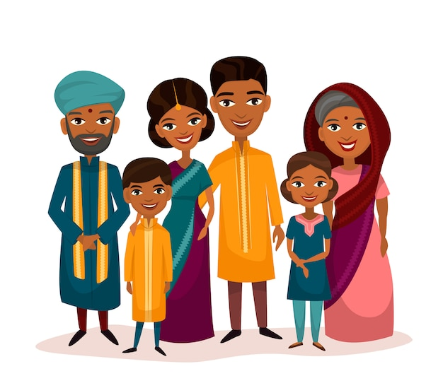 Большая счастливая индийская семейная мультипликационная концепция