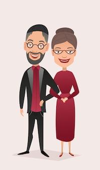 分離された幸せなユダヤ人の中年夫婦