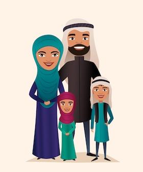 Счастливая пара арабских семей с детьми