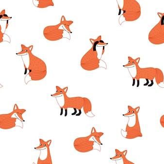 面白いキツネの手描きのシームレスパターン