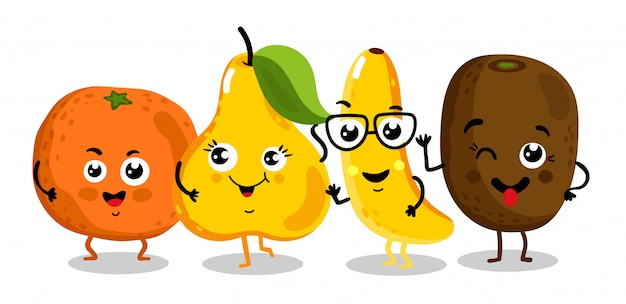 Смешные фрукты изолированные герои мультфильмов