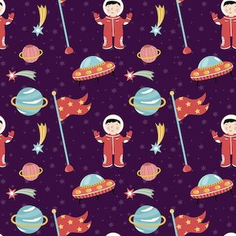 宇宙発見の先駆者のシームレスなパターンベクトル
