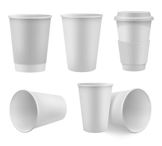 現実的なコーヒーカップモックアップセット