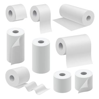 Реалистичный набор бумажных рулонов макет