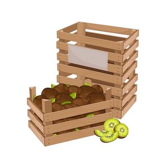 キウイでいっぱいの木箱