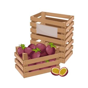 パッションフルーツの木箱