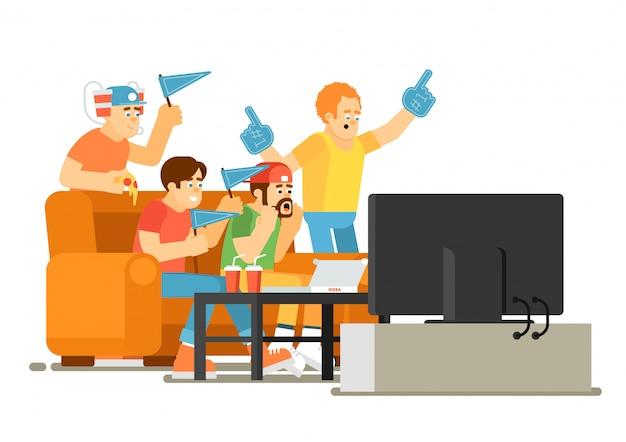 Эмоциональные фанаты спорта смотрят игру по телевизору