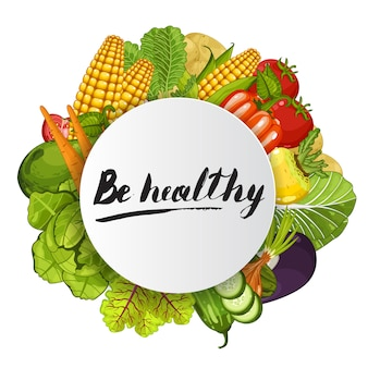 野菜と健康的な丸いコンセプト