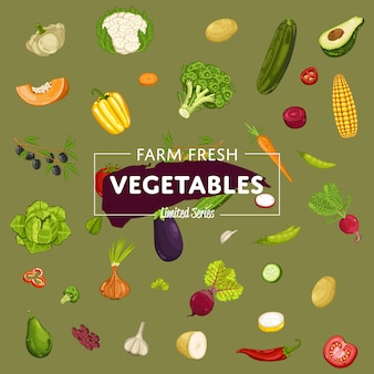 Ферма свежих овощей баннер с натуральным продуктом