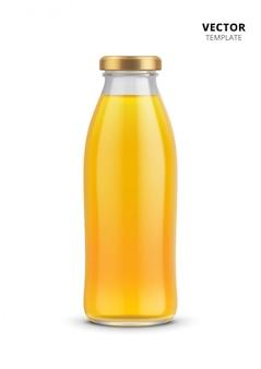 分離されたジュースボトルガラスモックアップ