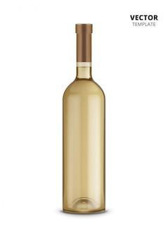 白で隔離されるワインの瓶