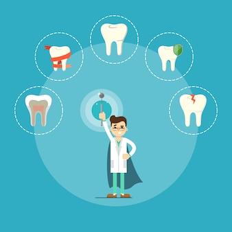 Знамя здоровья зубов с мужской стоматолог