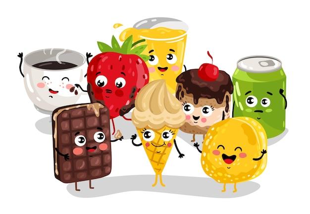 面白い甘い食べ物や飲み物のキャラクターセット