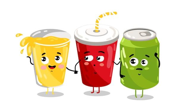 面白いテイクアウトグラスとソーダ缶キャラクター