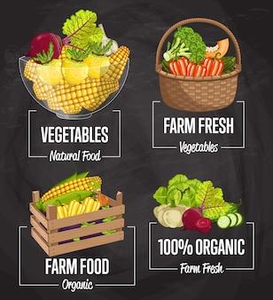 Органическая ферма еда концепция набор