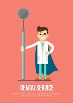Стоматологическая служба баннер с мужской стоматолог