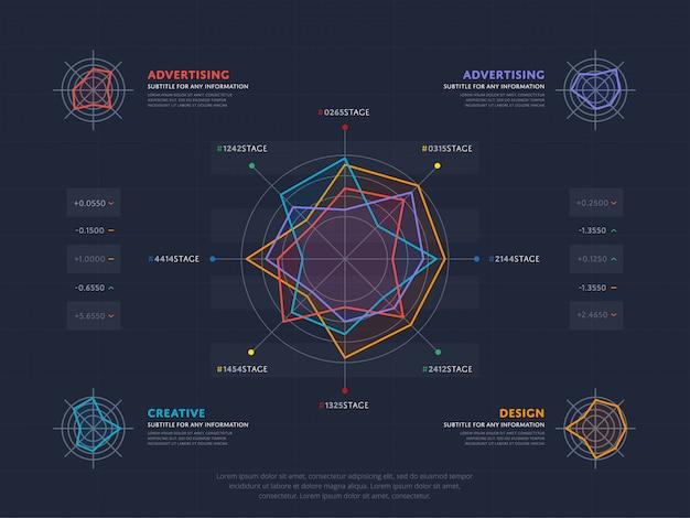 Бизнес-концепция инфографики с четырьмя индексами