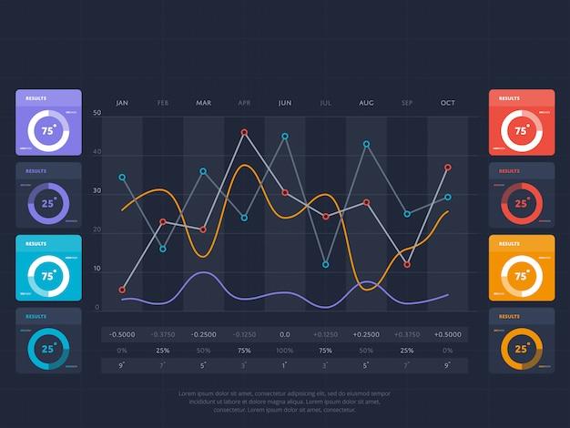 オンラインインデックスのビジネスインフォグラフィックコンセプト