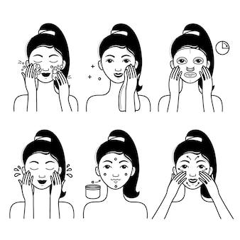 女の子と顔のスキンケアベクトルを設定