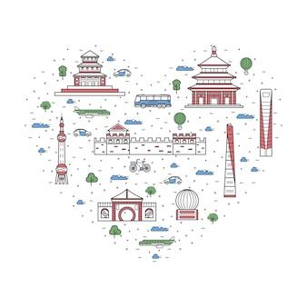 直線的なスタイルの中国の要素が大好き