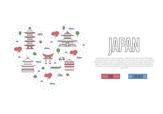 Я люблю шаблон японии в линейном стиле