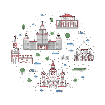 Московские туристические элементы в линейном стиле