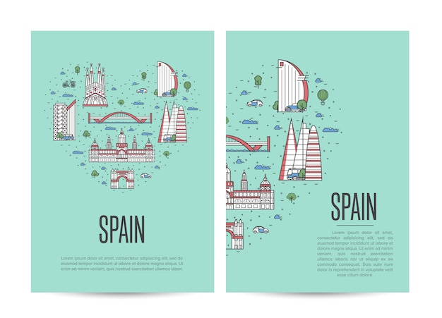 直線的なスタイルで設定されたスペイン旅行ツアー小冊子