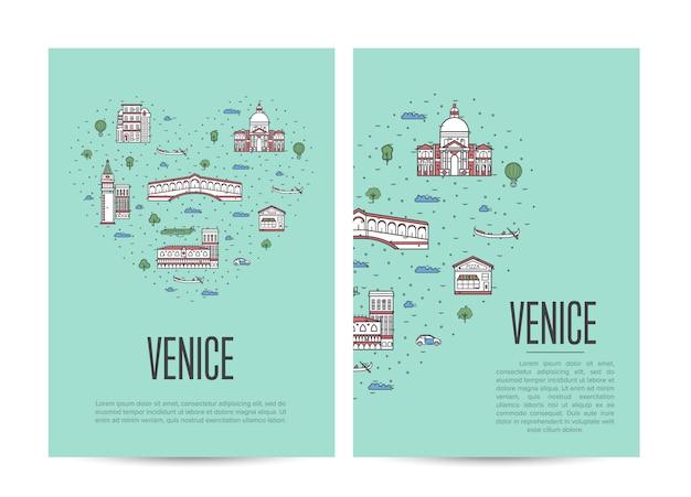 Туристический буклет венеция в линейном стиле